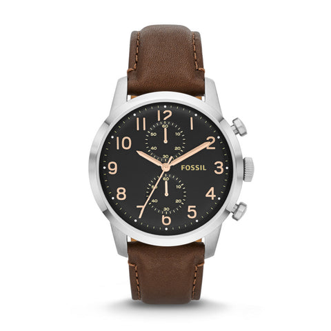 Fossil Townsman Stainless Steel Watch With Brown Leather Band - FS4873 - Fragume.com