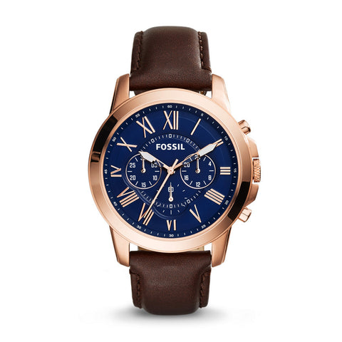 Fossil Grant Blue Dial Stainless Steel Watch with Brown Leather Band - FS5068 - Fragume.com