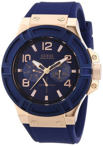 Guess Men's Rigor Blue & Rose Gold-Tone Silcone Casual Sport Watch (W0247G3) - Fragume.com
