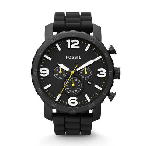 Fossil Nate Analog Chronograph Black Dial Watch - JR1425 - Fragume.com