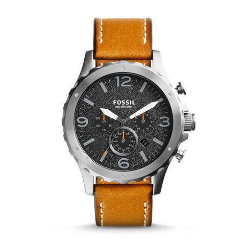 Fossil  Nate Chronograph Leather Watch - Tan - JR1467 - Fragume.com