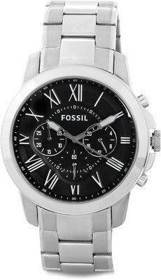 Fossil Grant Black Dial Stainless Steel Watch - FS4736 - Fragume.com