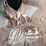 2016 summer style pajamas sets Women Female Sleep set Women's Deep V-neck Sexy Spaghetti Strap Shorts Sleepwear silk homewear