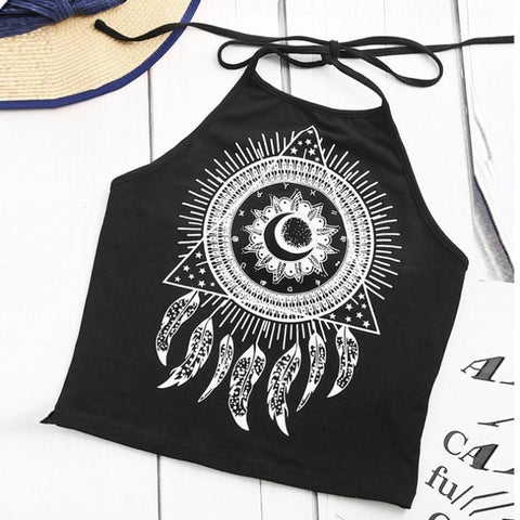 2017 Summer Sexy Camis Women Wind Chimes Floral Print Sleeveless Halterneck Tank Tops Crop Vest Blusa