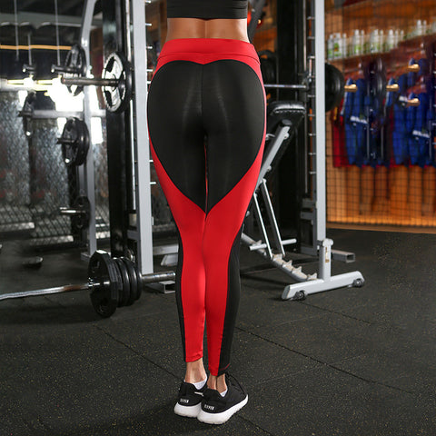 2017 Patchwork Heart-Shaped Sexy Leggings Women fitness legging workout para academia mulheres feminino push up