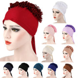 Autumn Winner Cotton Hat Women Muslim Lace Flowers Hat Chemo Cap Hair Loss Headwear Solid Wrap Hijib Cap