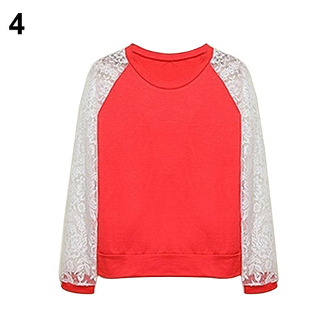 2016 New Product Women Patchwork White Lace Hoodies Long Sleeve Outerwear Pullover Sweatshirt Top