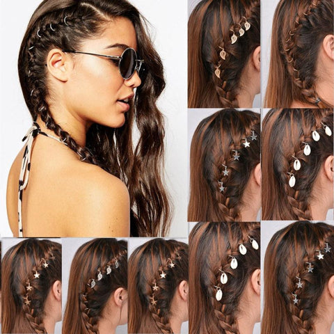 20Pcs Women Personality Braid Gold Silver Ring Hair Clip Pin Accessory DIY Factory Wholesale Price