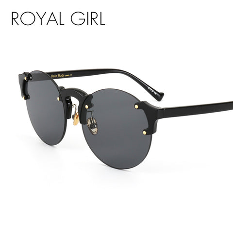 ROYAL GIRL Round Cat Eye Sunglasses Women Pink Clear Vintage Round Sun Glasses For Women Oversized Rimless uv400 ss122