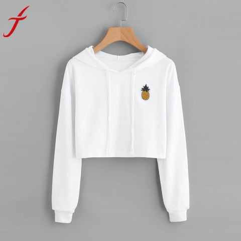 Feitong Plus Size Pinapple Printed Sweatshirt Womens Hoodie Appliques Winter Autumn Long Sleeve Pullover harajuku Crop Tops
