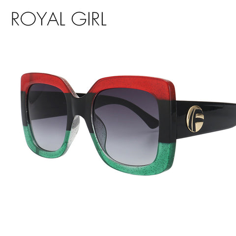 ROYAL GIRL Vintage Oversized Sunglasses Women Brand Designer Square Acetate Frame Shades ss580