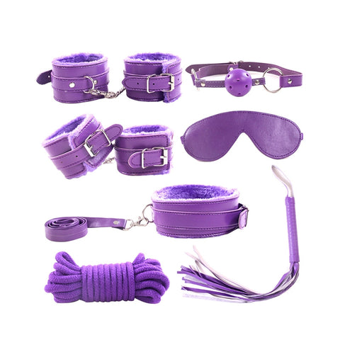 7pcs Leather Plush Sex Bondage Set Handcuffs Whip Eyemask Sex Restraining Toy