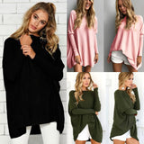 Autumn Women Loose Blouse Solid O-Neck Batwing Long Sleeves Casual Soft Top Pullover