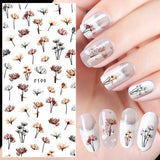 Colorful Nail Decals Self-adhesive Pure Fresh Flower Women Kids Decals Décor Minx Nail