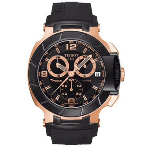 Tissot Men's T048.417.27.057.06 T-Race Rose-Gold Black Rubber Strap Watch - Fragume.com  - 1
