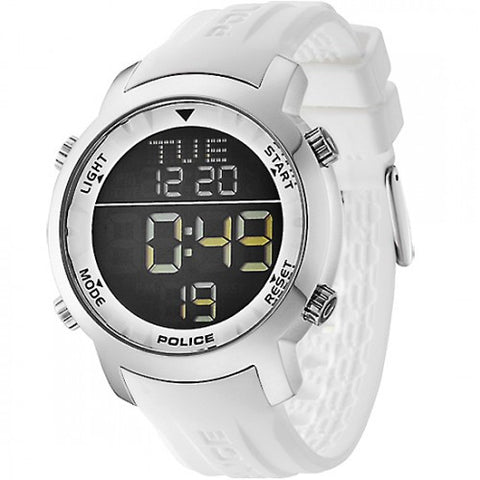 Police Cyber Digital Chronograph Day-Date White Silicone Watch - PL-12898JS/02H - Fragume.com