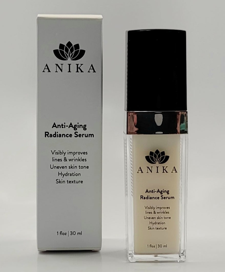Anti- Aging Radiance Serum by Anika Skin Types: Mature, Dry, Normal, Combination, Sun Damaged, Sensitive,  Grades 1 & 2 Acne.                    A natural source Retinol alternative anti-aging serum. The key ingredient is plant source Bakuchiol which is a retinol alternative that offers rejuvenation without the toxicity typically associated with Vitamin A.