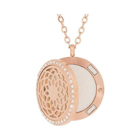 Facial Skincare Services - shop-anikabeauty-com - CRYSTAL & ROSE GOLDTONE SUNFLOWER AROMATHERAPY DIFFUSER PENDANT NECKLACE serina and company Jewelry aromatherapy