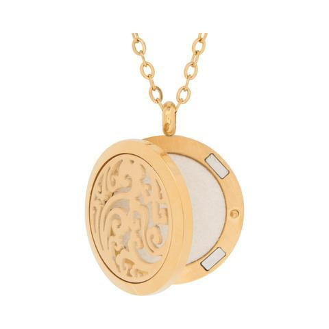 Facial Skincare Services - shop-anikabeauty-com - GOLDTONE WAVE AROMATHERAPY DIFFUSER PENDANT NECKLACE serina and company Jewelry aromatherapy