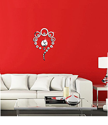 DIY Wall Clock 3D Sticker Home Office Decor 3D Wall Clock (Covering Area:42*64cm) - 0443S