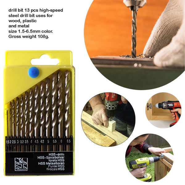 Powerful Drill Machine with 13 Pieces Drill Bit Set and 21Pc Screwdriver Socket Set - RL13B40PC