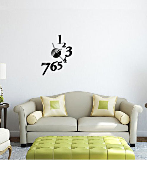 DIY Wall Clock 3D Sticker Home Office Decor 3D Wall Clock (Covering Area:32*44cm) - 1547B