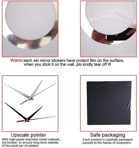 DIY Wall Clock 3D Sticker Home Office Decor 3D Wall Clock (Covering Area:49 * 51cm) - 0459S-N1