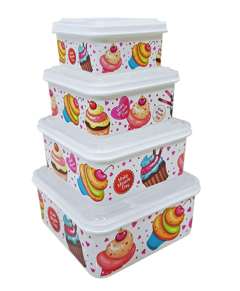 Plastic Lunch Box Tiffin Dabba Multi Purpose Containers for Home Office Use - 4PCSQLUNCH-FRU