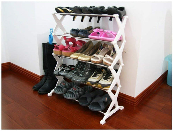 5 Tier Foldable Stainless Steel Shoe Rack Shoe Organiser Shoe Stand 16 Pair - 5SHRK