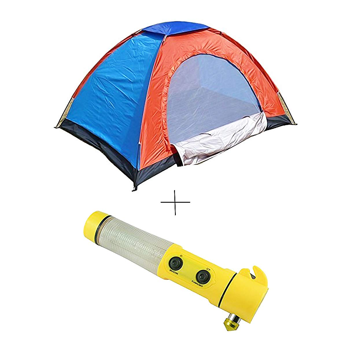 shopper52 Camping Tent Portable Foldable Tent for Picnic/Hiking/Trekking Tent Dome Tent 4 Person Tent with Car LED Flashlight Emergency Hammer Torch - 4TENTCRTORH