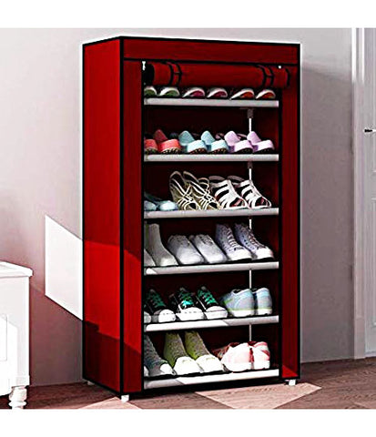 6 Layer Storage Cum Shoe Rack with Wardrobe Cover Shoe Rack for Home Office with Metal Frame Stand Shoe Organiser Shoe Cabinet Shoe Storage Shoe Wardrobe Stackable Shoe Rack Portable Folding Shoe Rack Shoe Shelf - 6LYRACK