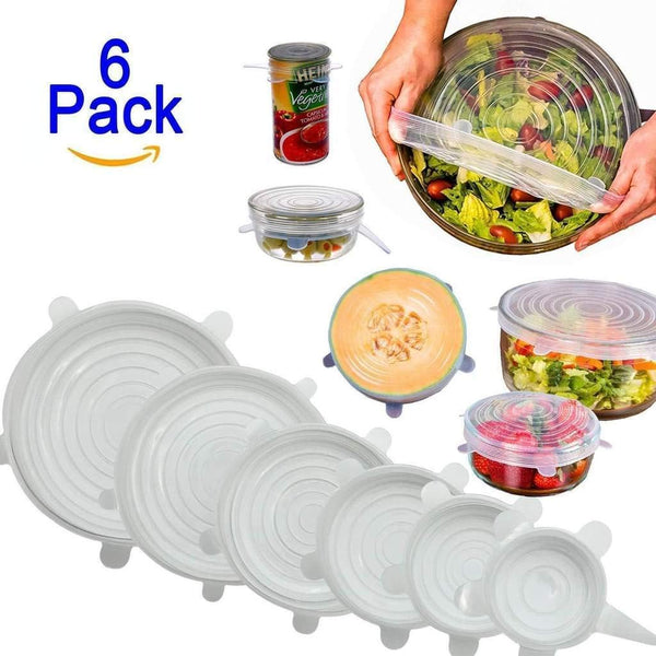 Set of 6 Pcs Silicone Stretchable Lids Flexible Covers for Rectangle Round Square - Bowls Dishes Plates Cans Jars Glassware Mugs Food Fresh Saver Cover - 6PCFOODCOVER