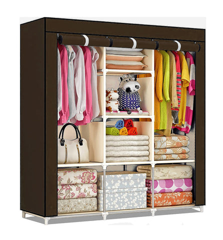 Fancy Portable Fabric Collapsible Foldable Clothes Closet Wardrobe Storage Rack Organizer Cabinet Cupboard Almirah Brown -88130A-BR