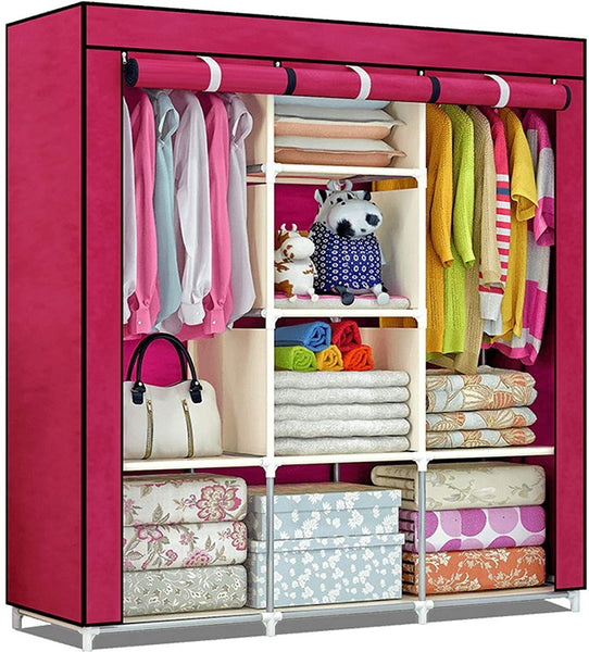 Fancy Portable Fabric Collapsible Foldable Clothes Closet Wardrobe Storage Rack Organizer Cabinet Cupboard Almirah Red Wine - 88130A-MR