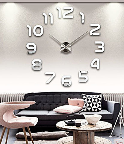 DIY Large Wall Clock 3D Sticker Home Office Decor 3D Wall Clock (Covering Area:62*62cm)- AL002S