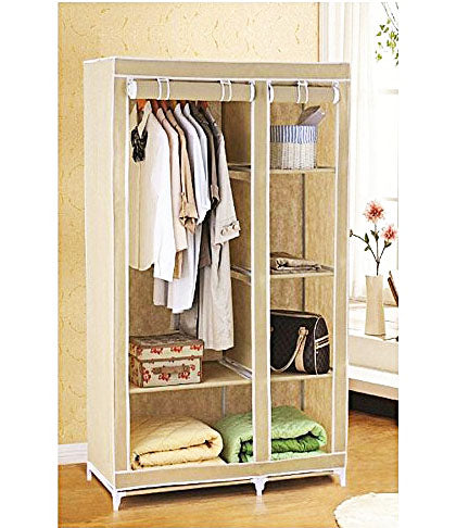Portable Foldable Closet Wardrobe Cabinet Collapsible Wardrobe 2 Door Wardrobe Almirah Wardrobe - BLRK