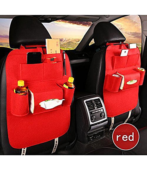 Car Back Seat Storage Organizer iPad Tablet Mobile Tissue Boxes Kids Toy Cell Phone Tray Mirror Drink Bottle Snacks Books Pens Break Fast Storage Hanger Holder Organizer Cover Pocket Bag - CRBK6PKT