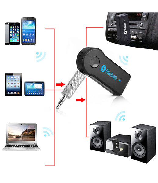 Bluetooth Car Kit Hands-free Audio Music Receiver Adapter with 3.5 mm Jack for Speaker Compatible with All Android and iOS Devices (Black) - CRBTRCV