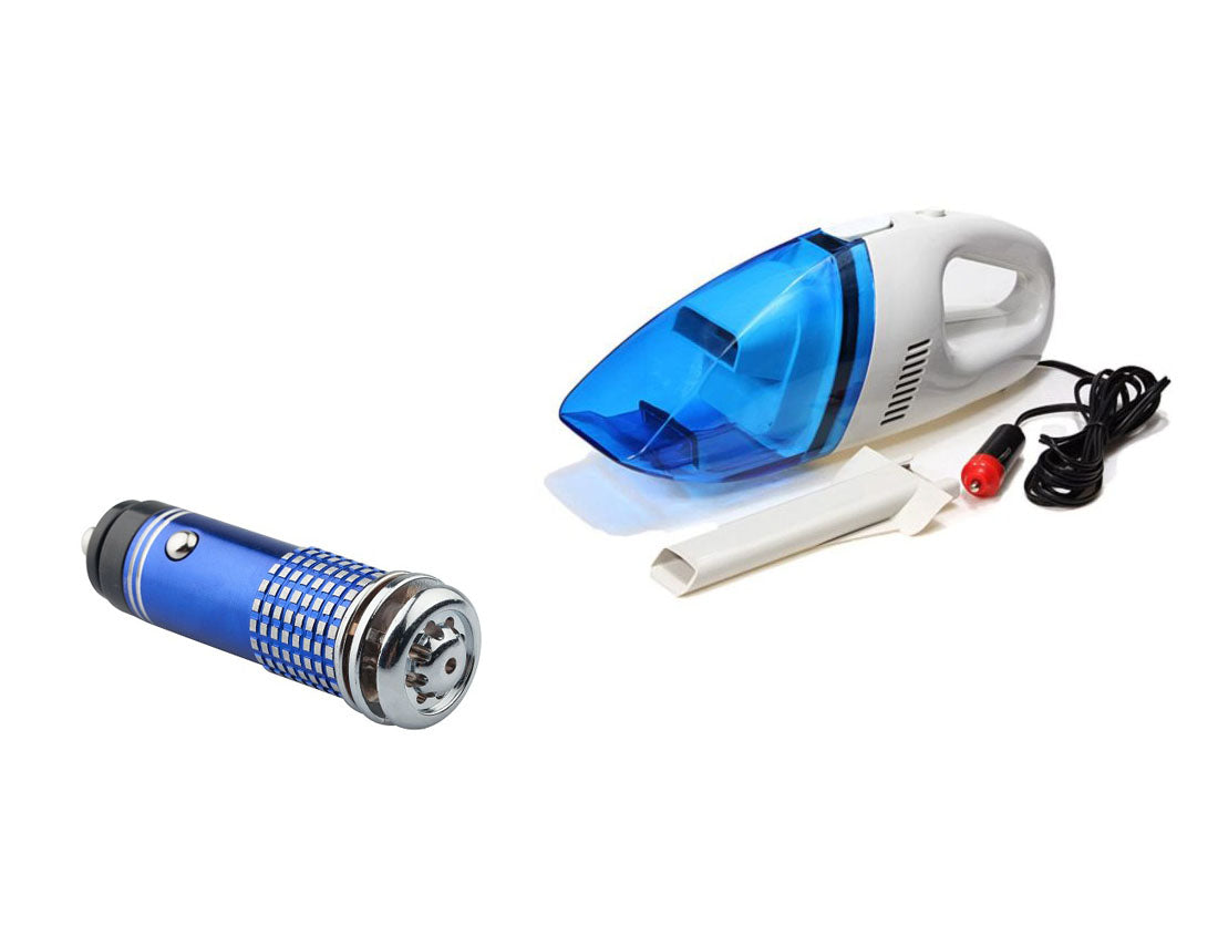 Shopper52 Car Vacuum Cleaner 12V High Power Handheld With Car Air Purifier Ionizer Ionic Oxygen Bar - CRVBD0301