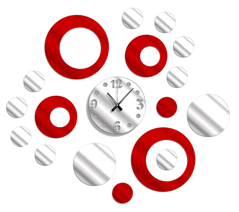 Shopper52 DIY Wall Clock 3D Sticker Home Office Decor Wall Clock (Covering Area : 50 x 50 cm) (SIL-Red) - DIY454SR