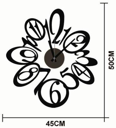 DIY Wall Clock 3D Sticker Home Office Decor 3D Wall Clock (Covering Area:50 * 45cm) - DIYCD808