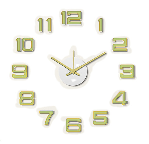 DIY Wall Clock 3D Sticker Home Office Decor Wall Clock ( Covering Area: 45 x 45 cm ) - DIYM07-GOLD-S