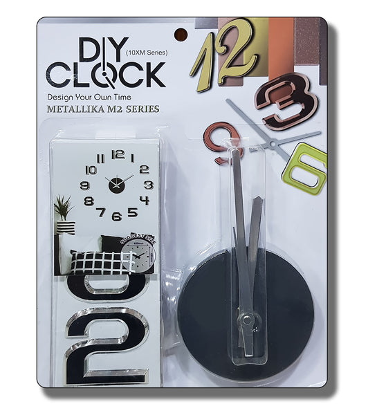 DIY Wall Clock 3D Sticker Home Office Decor Wall Clock ( Covering Area: 45 x 45 cm ) - DIYM07-SLV-SL