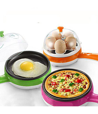 2 in 1 Multi functional Steaming Device Frying Egg Boiling Roasting Heating Egg Cooker Egg Poacher Electric Egg Boiler - EGBOR