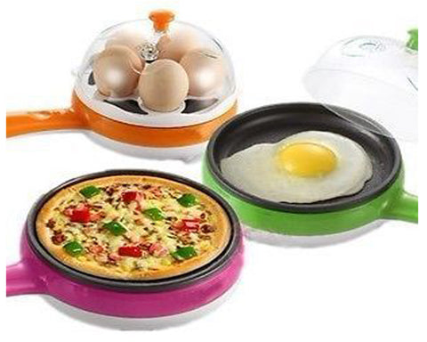 2-in-1 Silver Plated Multifunctional Steaming Device/Frying Egg Boiling Roasting Cooker (Multicolour) - EGBOR