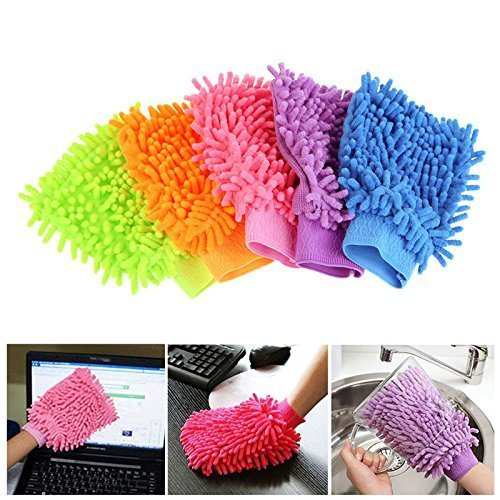 Microfibre Wash and Dust Chenille Mitt Cleaning Gloves (Set of 2 pcs )- FBRDGL
