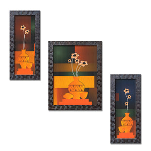Set of 3 UV Coated Framed Floral Painting Without Glass Home Decorative Gift Items - FRAME-4