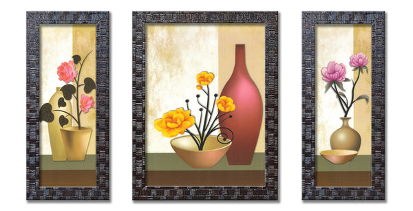 Set of 3 UV Coated Framed Floral Painting Without Glass Home Decorative Gift Items - FRAME-6