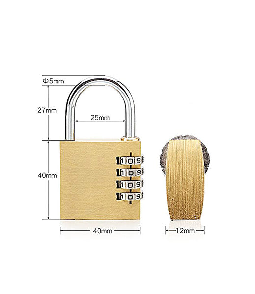 4 Digit Metallic Number Lock Small Bag Lock Travel Lock Luggage Re-Settable Password Locks Combination Padlock - LOCK4