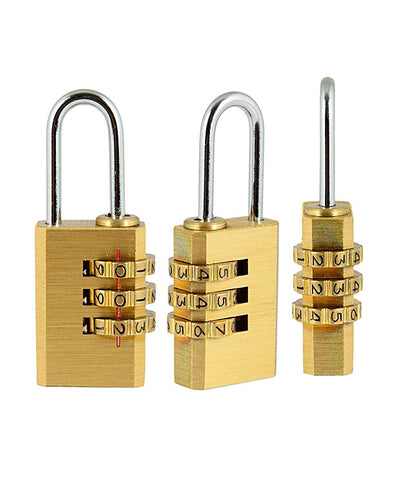 3 Digit Metallic Number Lock Small Bag Lock Travel Lock Luggage Re-Settable Password Locks Combination Padlock - LOCKCR404